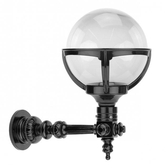 Gevelverlichting Retro Nostalgisch Bollamp op stang helder glas Erichem - 40 cm