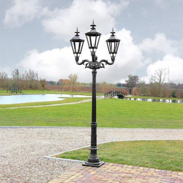 Außenbeleuchtung Klassisch Ländlich Laternenpfahl 30er Jahre Exloo 3-licht - 253 cm