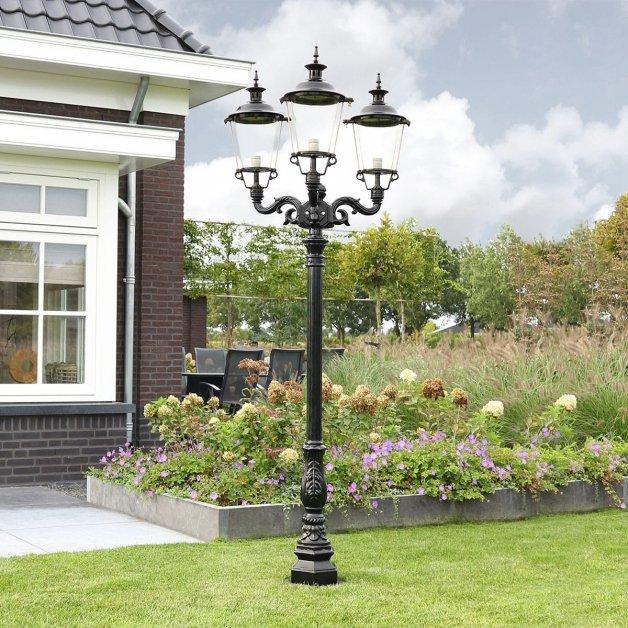 Buitenverlichting Klassiek Landelijk Lichtmast tuin Enkhuizen 3-lichts - 243 cm