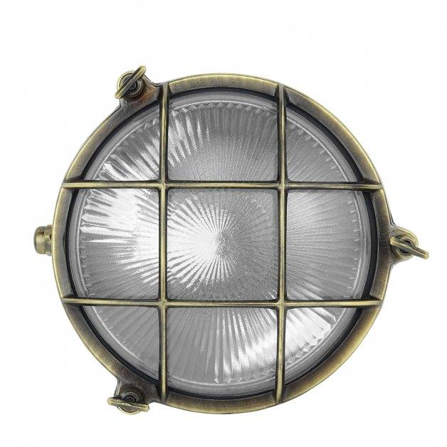 Außenleuchten Maritim Nautik Schiffswandlampe rund bronze Triton - 22 cm