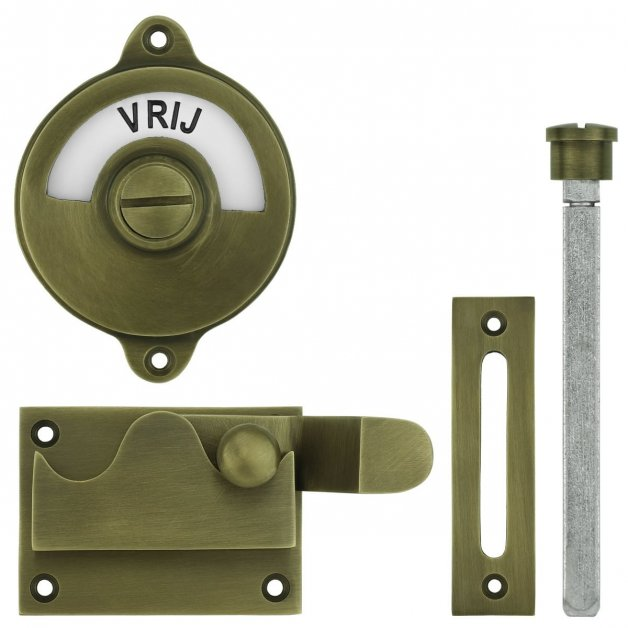 Deurbeslag Toiletsluitingen WC slot met hendel vrij bezet brons - Ø 60 mm