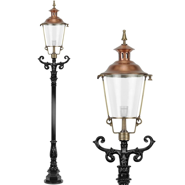 Außenbeleuchtung Klassisch Ländlich Lichtmast bronze Oosterwierum - 255 cm