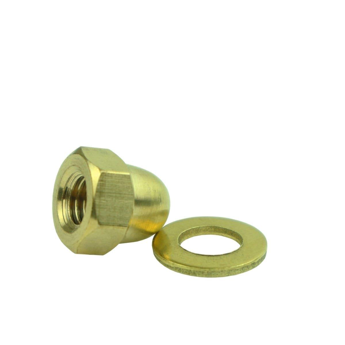 Außenbeleuchtung Befestigungsmaterial Hutmuttern mit ring M8 messing - 10-stücke