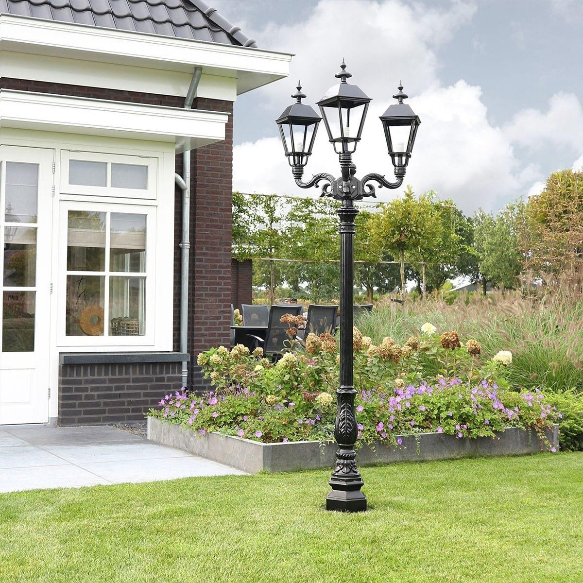 Außenbeleuchtung Klassisch Ländlich Straßenlaterne Cortenoever 3-licht - 235 cm