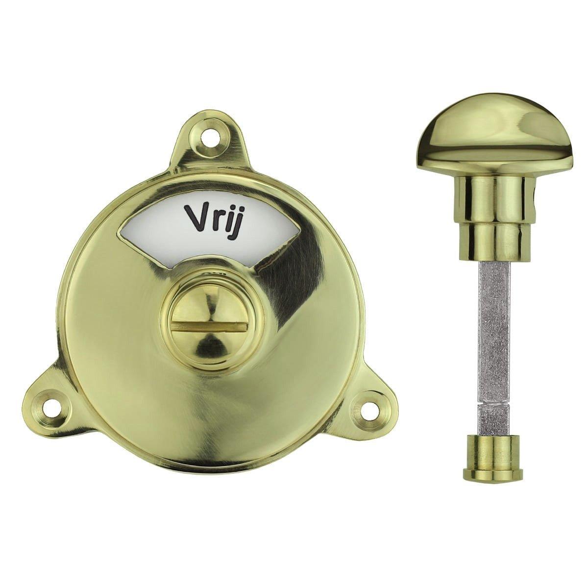Hardware Toilet Locks Toilet lock round polished brass - Ø 58 mm