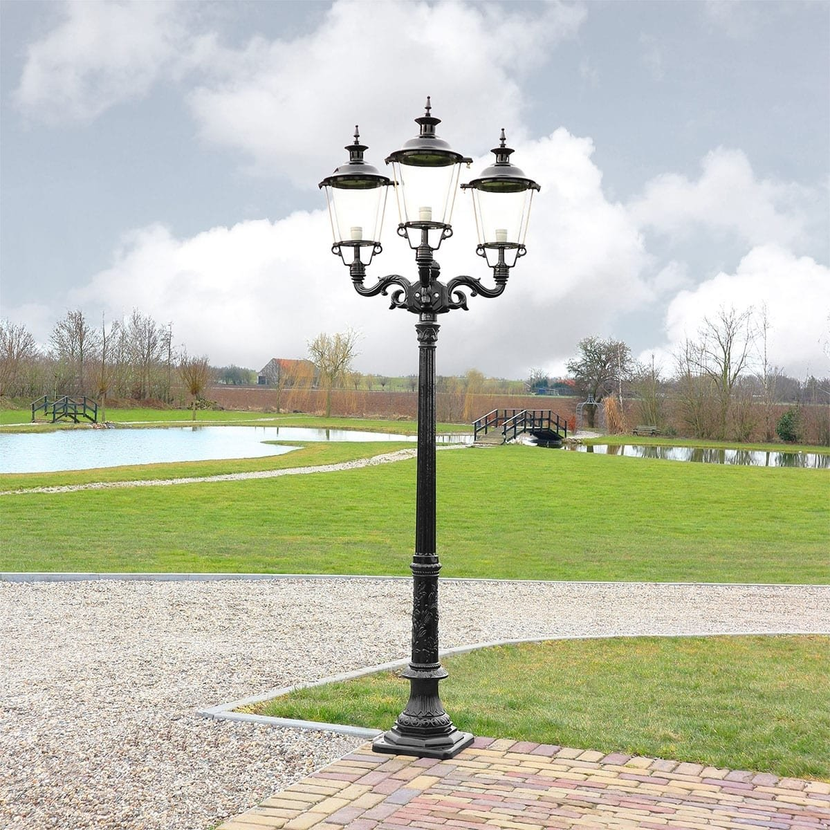 Outdoor Lighting Classic Rural Garden lantern antique Britsum 3-arms - 261 cm