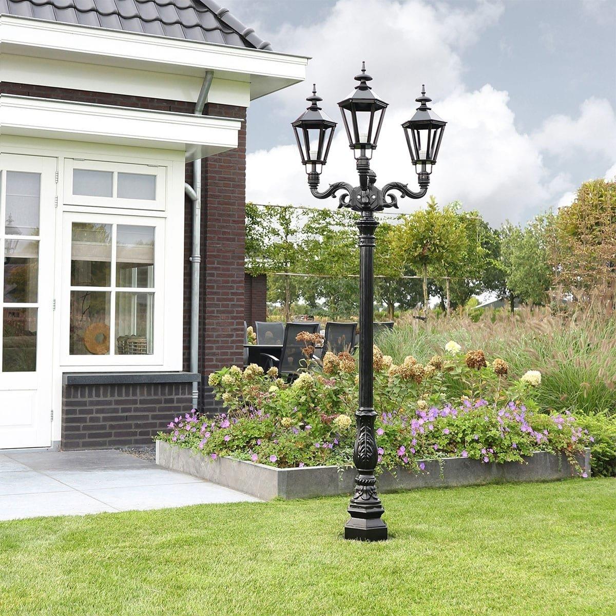 Außenbeleuchtung Klassisch Ländlich Gartenlaterne Emmeloord 3-licht - 235 cm