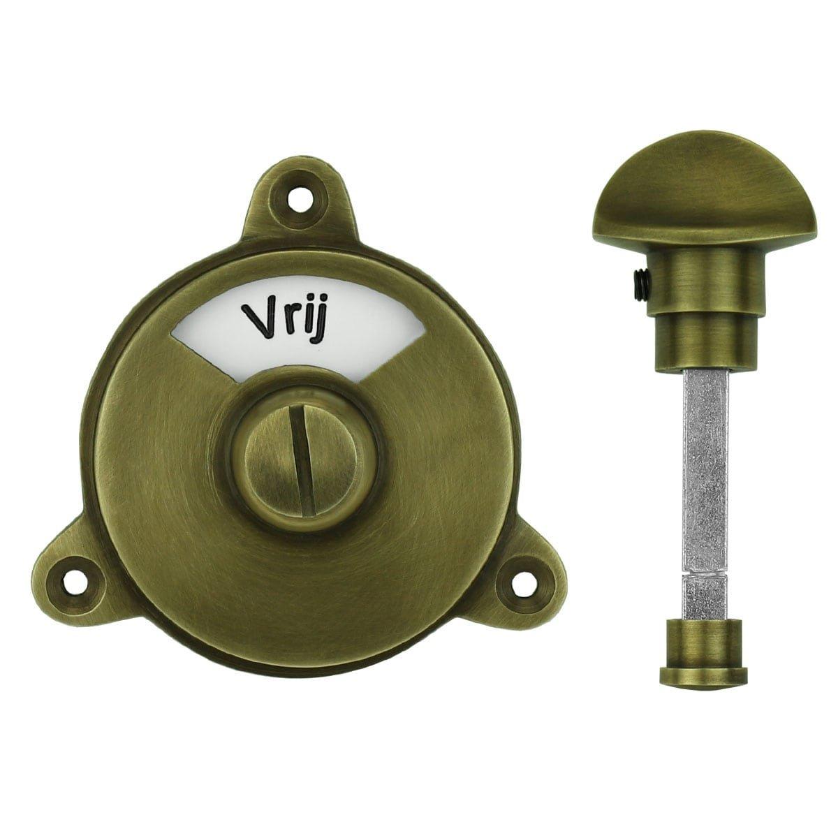 Hardware Toilet Locks WC lock free occupied old brass - Ø 58 mm